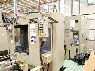 ENSHU JE60 Twin Pallet 4 Axis CNC Horizontal Machining Centre with Fanuc 16-M Control. Approx Table dimensions 400mm x 400mm. X = 600mm, Y = 600mm, Z = 600mm, B = 360 degrees (1 degree increments).  Spidnle Nose BT40. Spindle speed 13,000 rpm. 40 Station