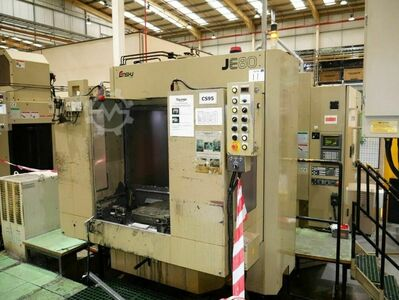 ENSHU JE80 Twin Pallet 4 Axis Horizontal Machining Centre with Fanuc 16-M Control. Approx Table Dimensions 500mm x 500mm. X = 800mm, Y = 800mm, Z = 800mm, B = 360degrees (1 degree increments). Spindle HSK63-A. Spindle speed 13,000 rpm. 40 Station ATC. S/N