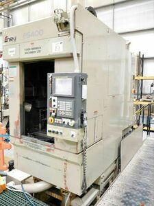 ENSHU ES400 3 Axis CNC Vertical Machining Centre with Fanuc 18I-M Control. Approx Table Dimensions 700mm x 400mm, with 3 Tee Slots. X = 400mm, Y = 400mm, Z = 375mm. Spindle HSK 40. 30 Station ATC. Serial No. 132
