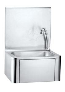 Knee operated sink Stainless Steel