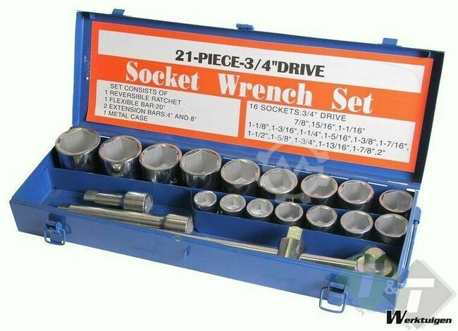 Trailer And Tools Doppendoos 3/4 duims 21 delig Inch maten