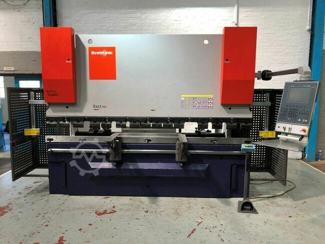 BYSTRONIC Xact 100 ton x 3000mm Hydraulic Downstroke CNC Press Brake. Cybelec DNC880S 4 Axis Control. With Crowning. Manufactured 2011