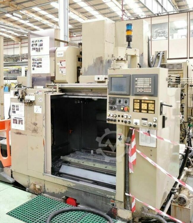 ENSHU EV530 3 Axis CNC Vertical Machining Centre with Fanuc 18I-M Control. Approx table dimensions 1100mm x 558mm, 5 Tee slots. X = 998mm, Y = 530mm, Z = 508mm Spindle ISO 50. Spindle speed 10,000 rpm. 30 ATC. Serial No. 124