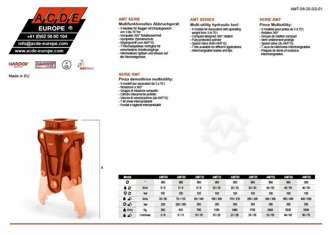 ACDE Europe® AMT Serie | 370 - 6000 kg | 3-70 T |
